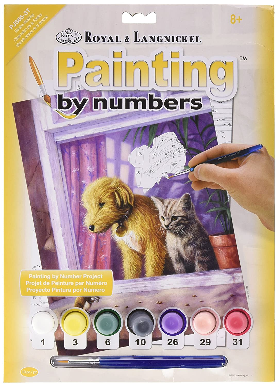 Royal & Langnickel 11 x 15 inch Window Watching Pre-Printed Paint by Number Painting Set PJS65