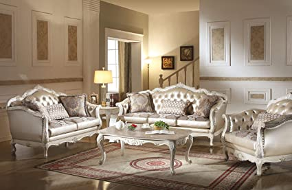 Fantastic Acme Chantelle Rose Gold And Pearl White Loveseat With 3 Pillows Lamtechconsult Wood Chair Design Ideas Lamtechconsultcom