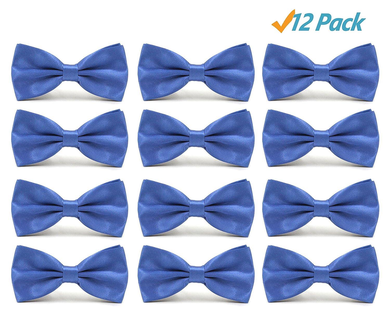 12pcs Men's Pre-tied Adjustable Formal Premium Bow Tie Tuxedo Solid Bow Ties by AVANTMEN