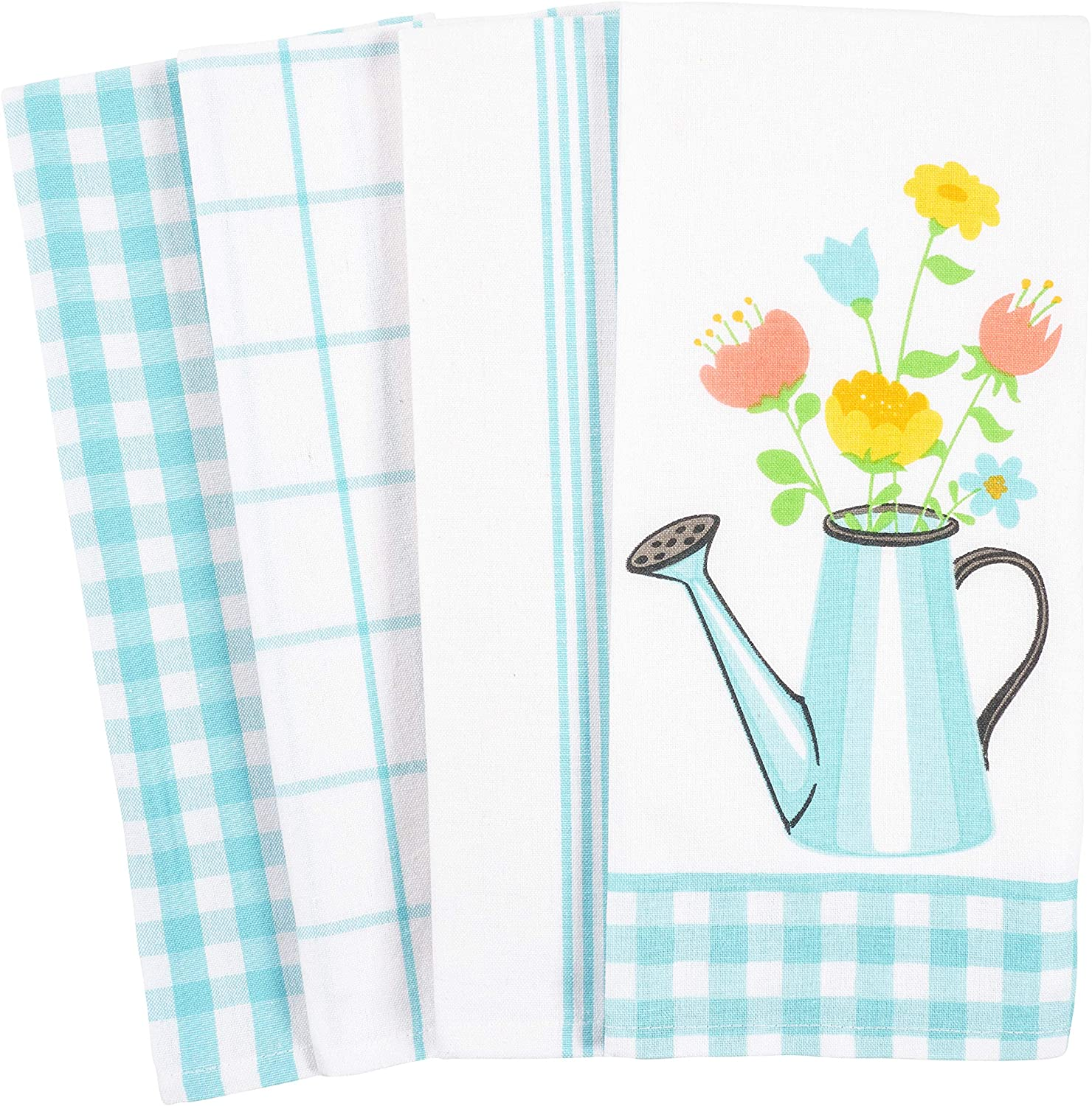 KAF Home Pantry Kitchen Dish Towel Set of 4, Cotton Rich, 18 x 28-inch (Gingham Bouquet Watering Can Flower Pot)