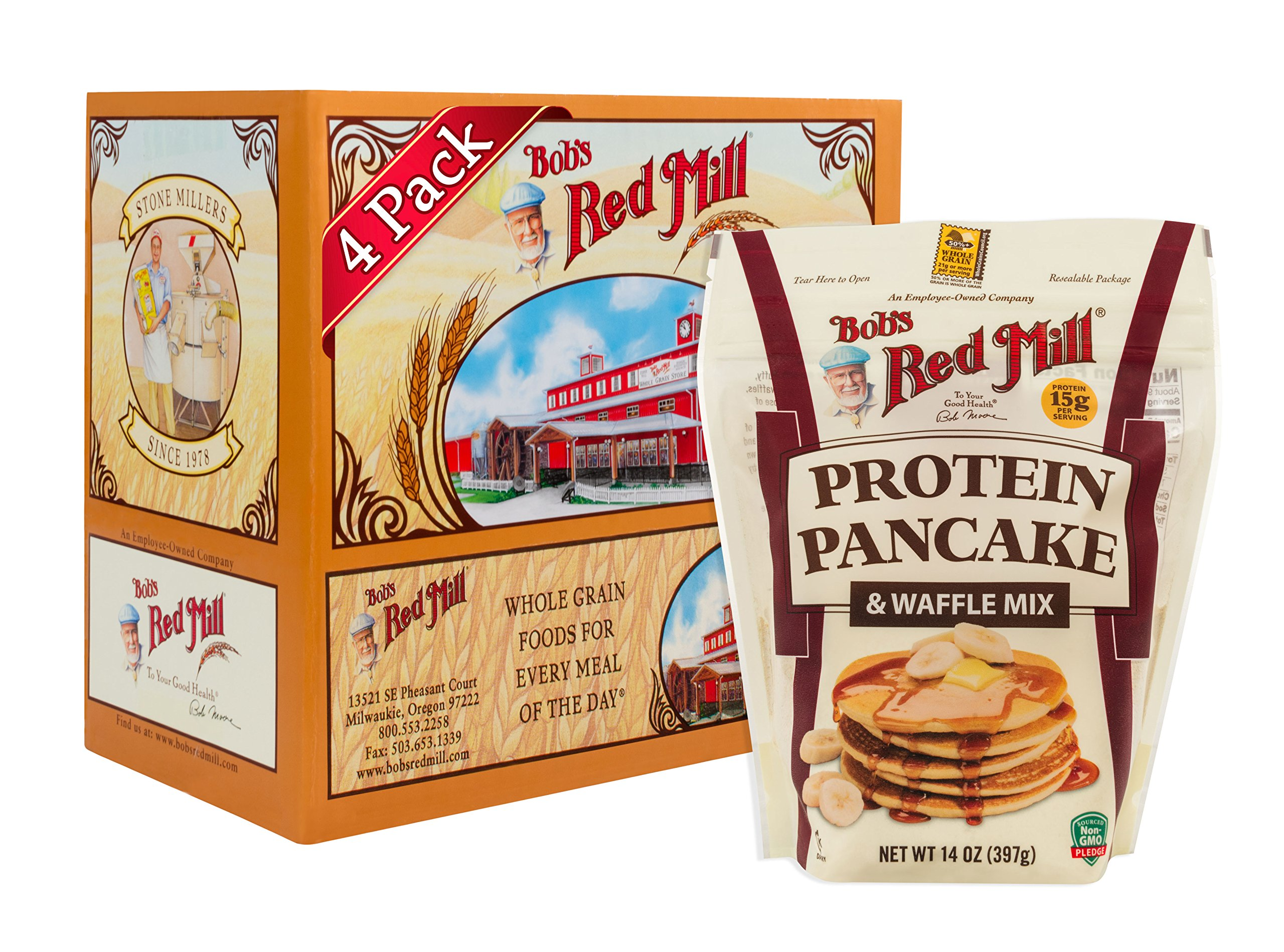 Bob's Red Mill Resealable Protein Pancake & Waffle Mix, 14 Oz (4 Pack) by Bob's Red Mill