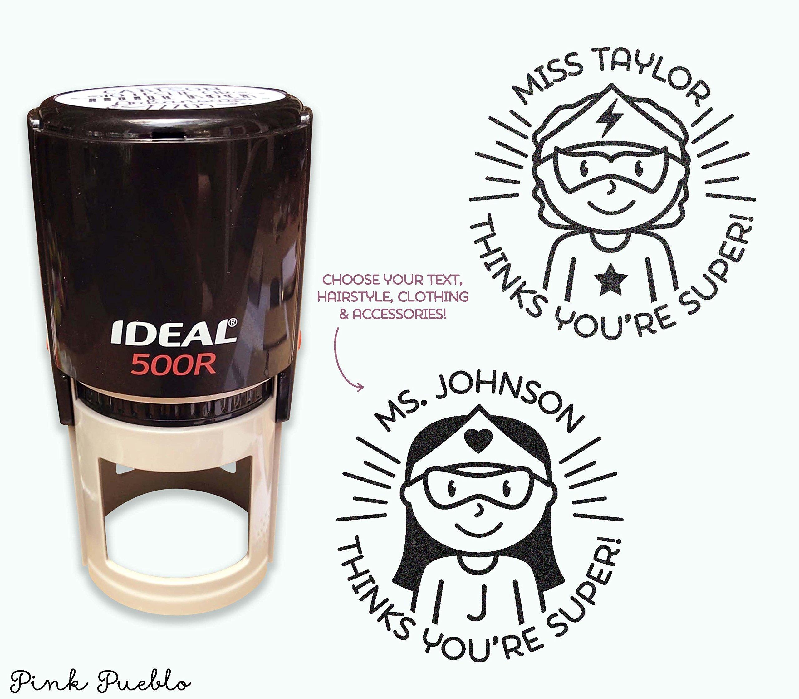 Self Inking Superhero Teacher Stamp, Personalized Superhero Teacher Stamps, Teacher Gifts - Choose Hairstyle and Accessories