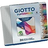 Giotto 236800 - Supermina Scatola Metallo 24 Pastelli Colorati