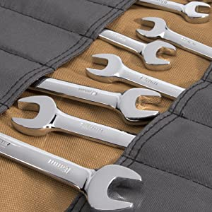 Dickies Work Gear – Socket Organizer – Large Wrench Roll – 57006 – Durable Canvas Construction – 23 Pockets – Reinforced Ties – Protective Flaps – Grey/Tan – 15.2 oz. (Color: Grey/Tan, Tamaño: Large)