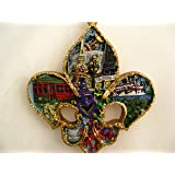 New Orleans Scenery Fleur De Lis Holiday Ornament Christmas with Free Drawstring Pouch / Bag