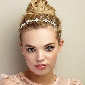 Queenmee Pearl Stirnband Perle Hochzeit Haarreif Blumen Haarband