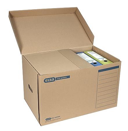 Elba 83523 - Caja archivadora (A4, sistema de lengüetas, capacidad de 500 hojas aprox, 30 unidades), color marrón: Amazon.es: Oficina y papelería