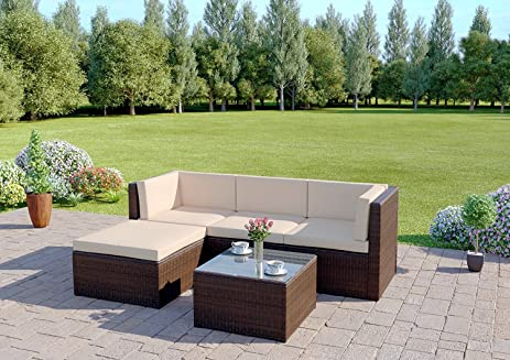 Outdoor Patio Furniture Set,Wisteria Lane 5 PCS Upgrade Garden Rattan  Wicker Cushioned Sofa With