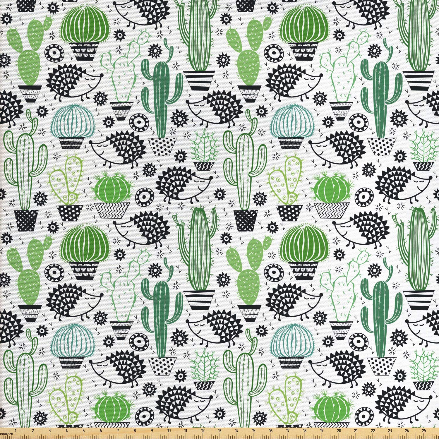 Ambesonne Cactus Fabric by The Yard, Cartoon Style Inspired Drawing of Cute Hedgehog Animals Saguaro and Prickly Pear, Decorative Fabric for Upholstery and Home Accents,10 Yards, Multicolor