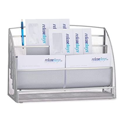 Relaxdays Organizador Cartas con 4 Compartimentos, Metal ...