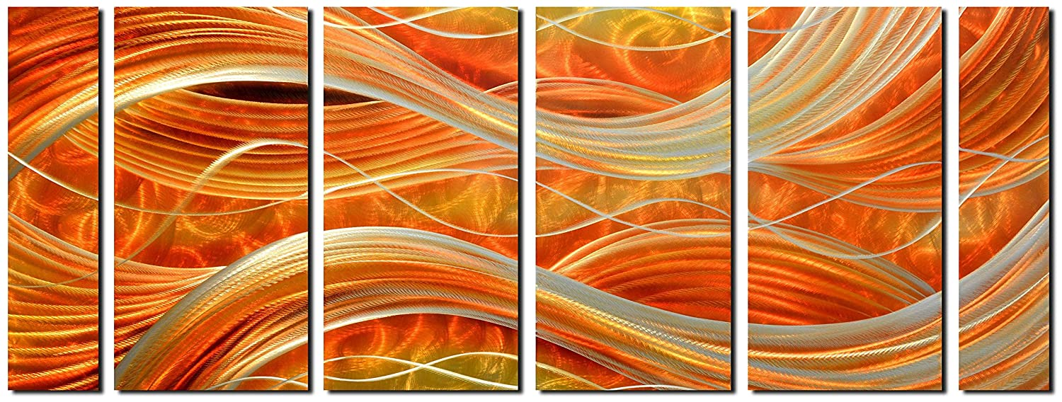 Myarton Mwa-1103 Handmade Abstract Metal Wall Art with Soft color, Large Scale Decor in Dark Red Line Design Metal Art, 3D Artwork for Indoor Outdoor Wall Decorations, Decorative hanging in 6-Panels Measures 24 x 65