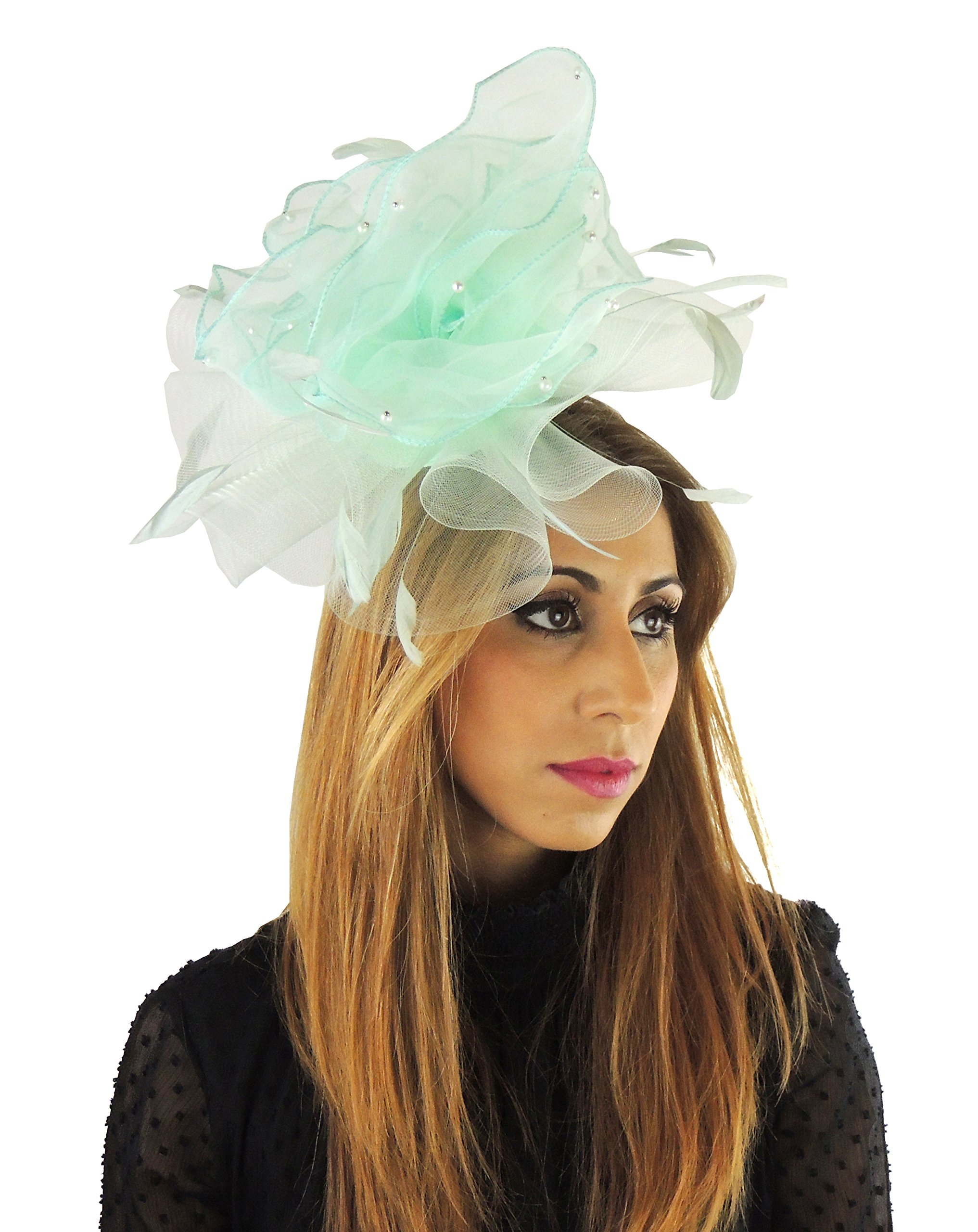 Hats By Cressida Layers Of Faux Pearl Trimmed Chiffon & crin Elegant Ladies Ascot Wedding Fascinator Hat Mint by Hats By Cressida