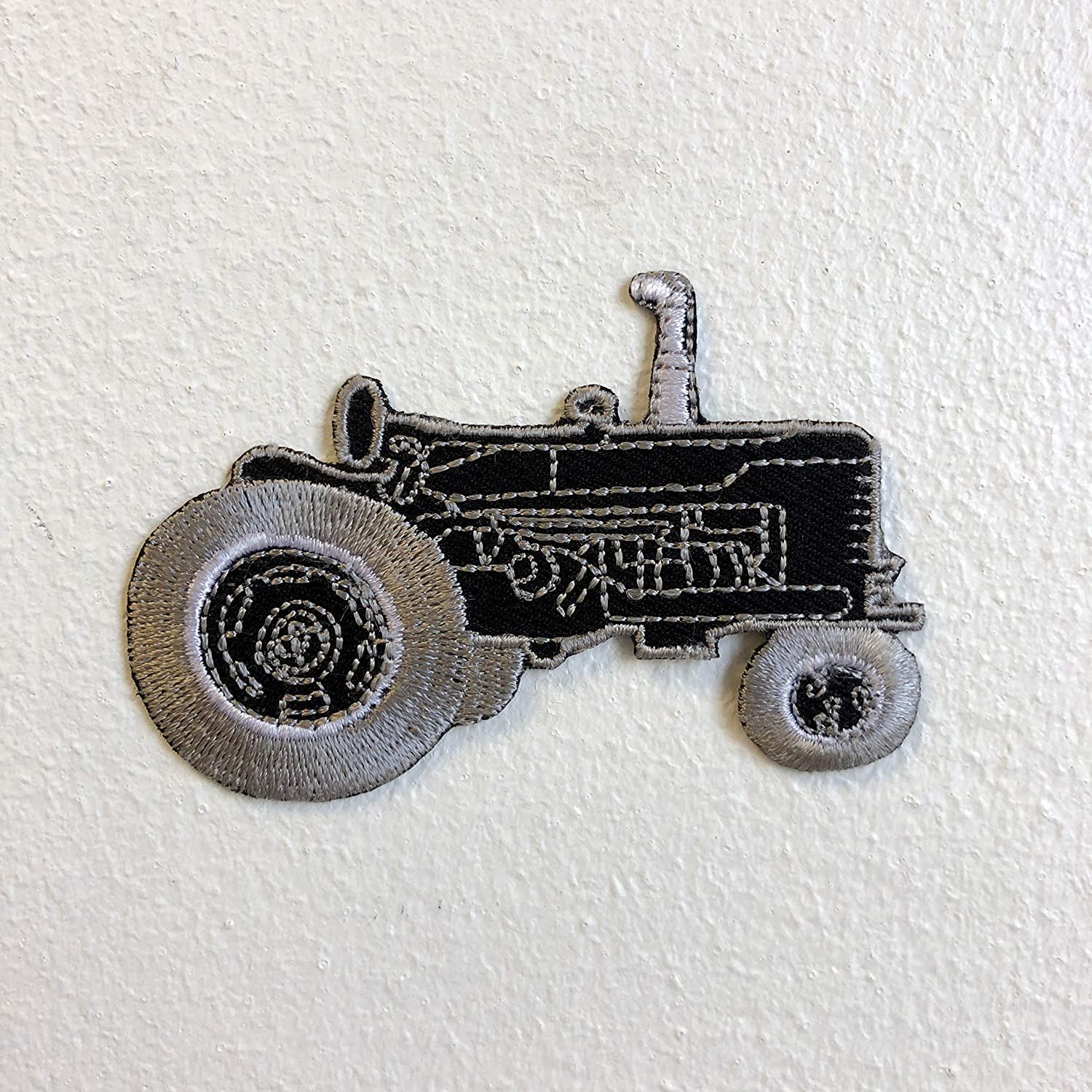 Farming Tractor Black Iron Sew on Embroidered Patch GK - Patches