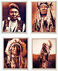 Impact Posters Gallery Indian Chief Wall Decor Native American Picture 16x20 Four Set Art Print Poster