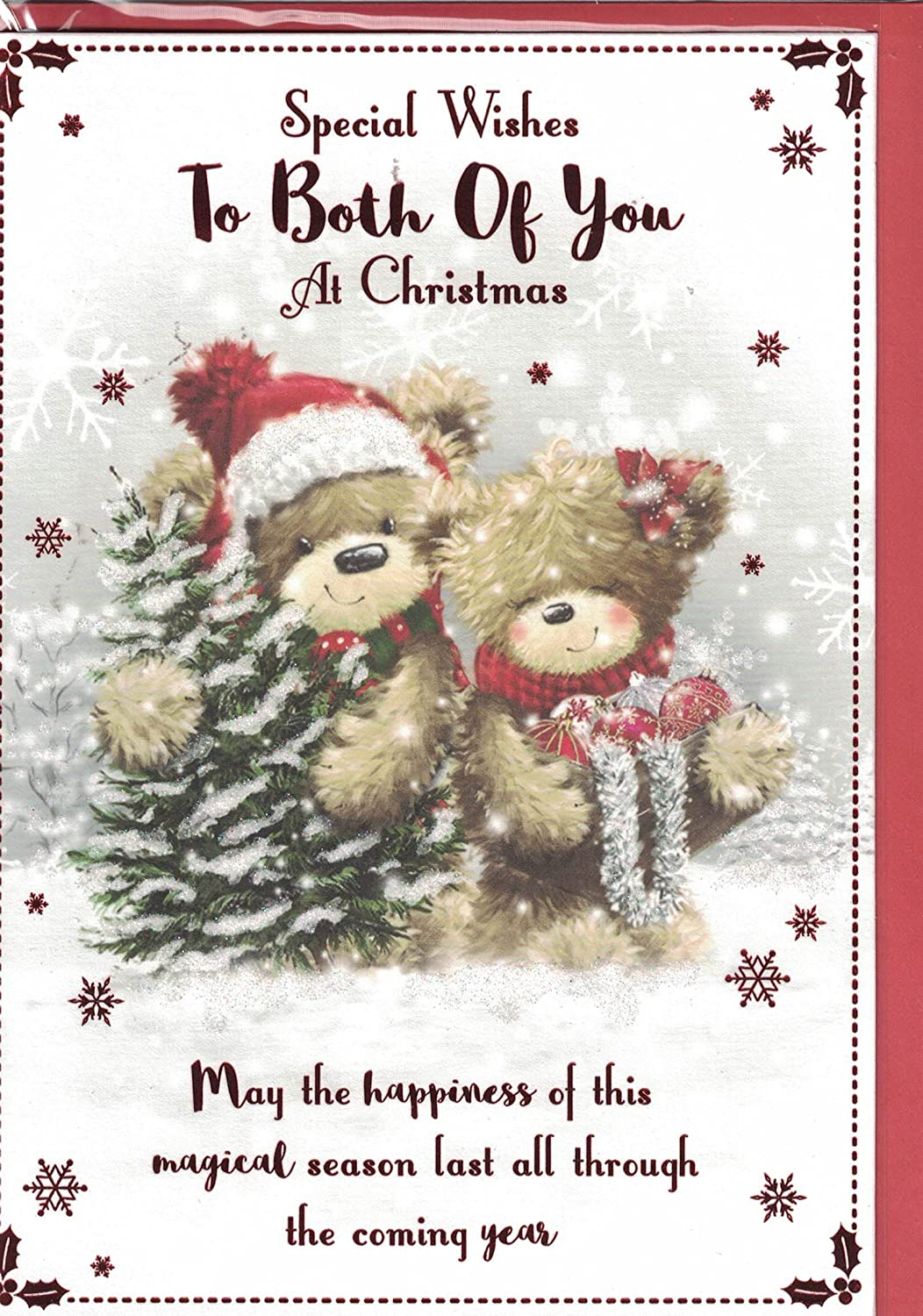 To Both Of You Christmas Card ~ To Both Of You Happy Christmas ~ Bears & Mistletoe Quality Card prelude