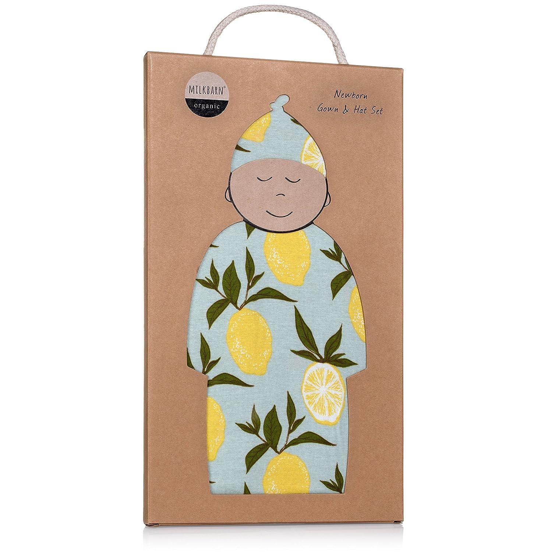 Amazon.com: MilkBarn Newborn Gown and Hat Set (Blue Lemon): Clothing