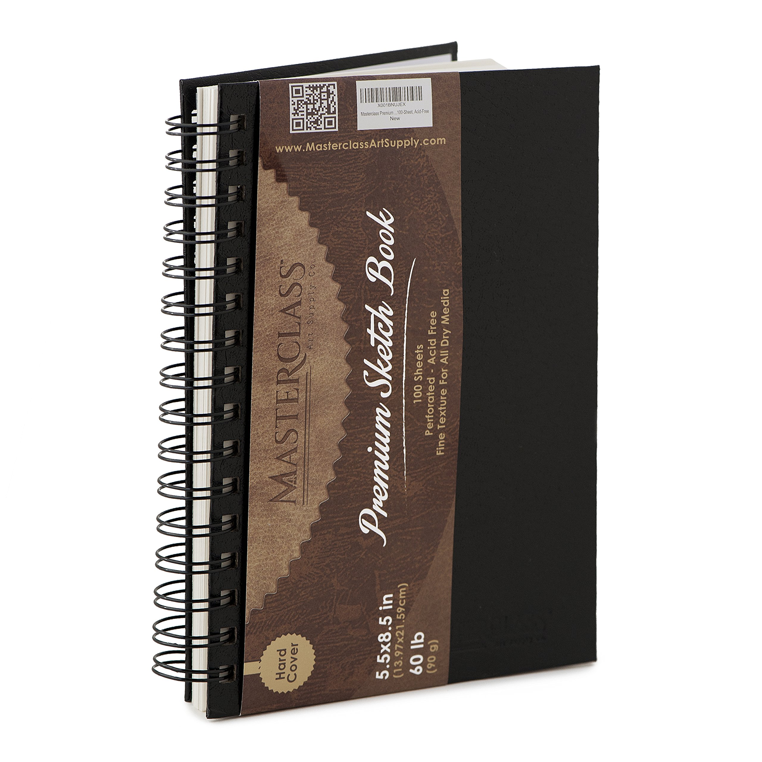 Masterclass Premium 5.5 Inch by 8 Inch Spiral Bound Hardcover Sketchbook, 100-Sheets, Acid-Free, Perfect Sketch Book For Traveling, Durable Cover And Binding Allow Your Drawing Pages To Lay Flat. ... by Masterclass Art Supply Co.