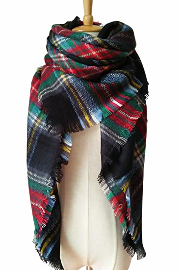 0d692608a4185 MOTINE Tartan Blanket Scarf Stylish Winter Warm Pashmina Wrap Shawl for  Women (Black Green)