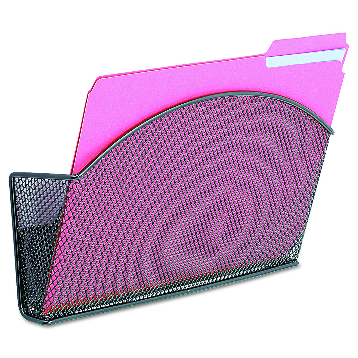Safco Products 4176BL Onyx Mesh Magnetic Single File Pocket, Letter Size, Black