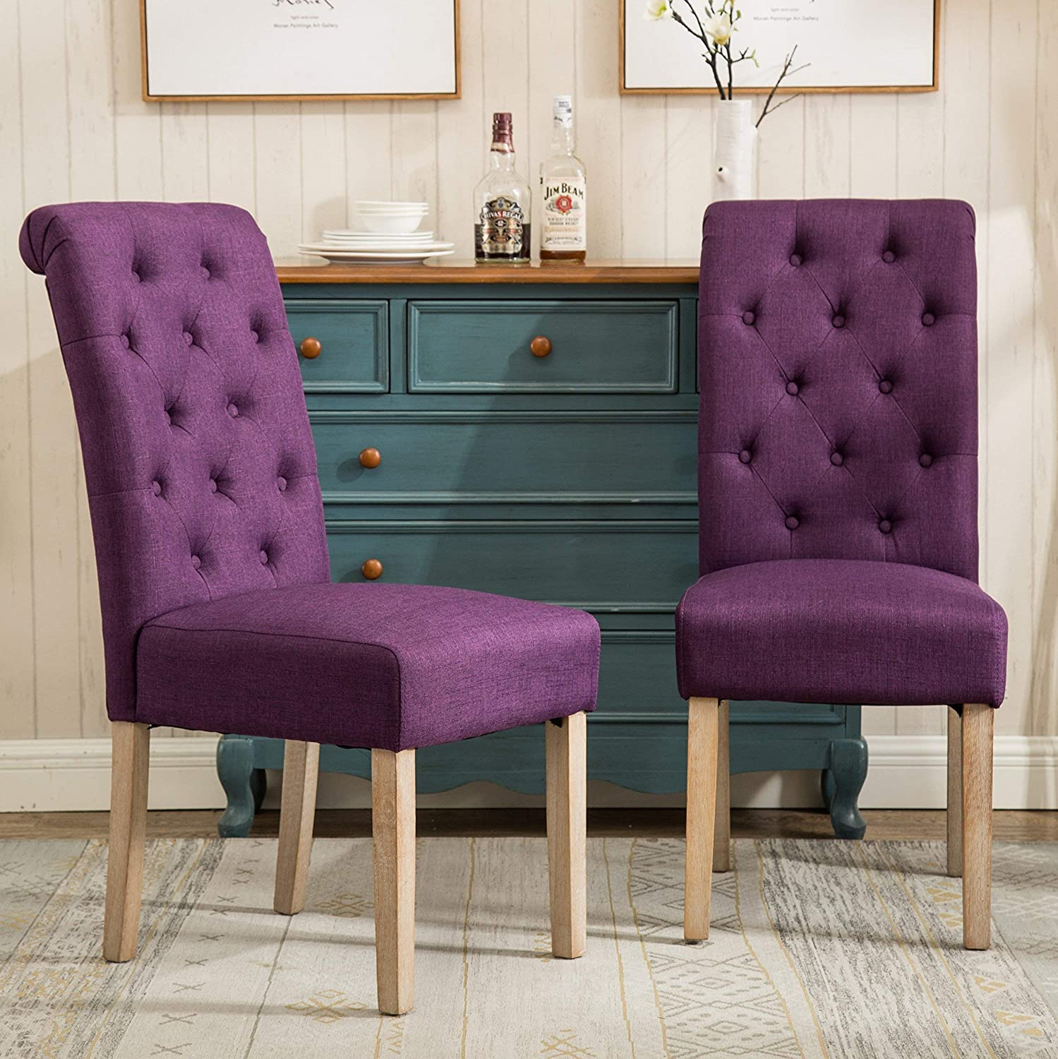 Roundhill Furniture C161PL Habit Solid Wood Tufted Parsons Purple Dining Chair, Set of 2