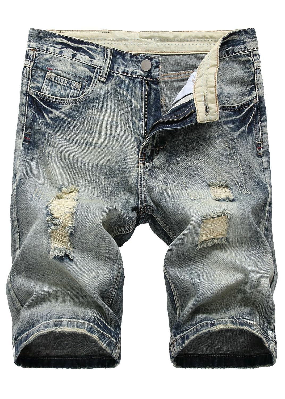 Nihsatin Men's Ripped Distressed Straight Fit Denim Shorts Hole