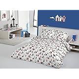 Pandoras Upholstery Happy Days Parure de lit avec housse de couette Motif côtier Cabines de plage Phare Bateaux Bord de mer , Coton, Nautical Blue, Simple