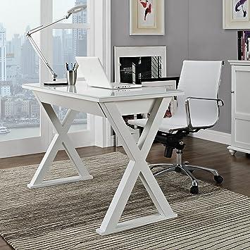WE Furniture 48u0026quot; Storage Computer Desk, White