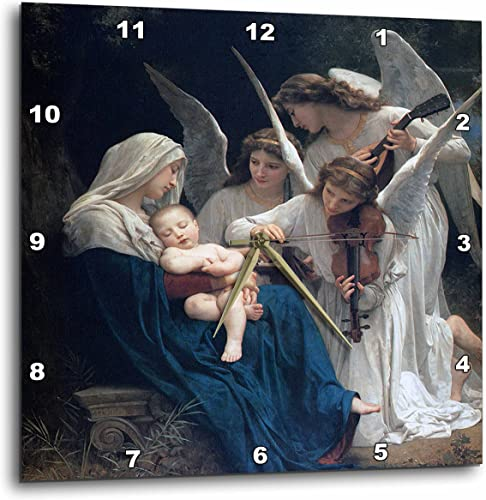 3dRose dpp_173840_3 Song of The Angels, Adolphe William Biographic Playing for Baby Jesus-Wall Clock, 15 by 15-Inch