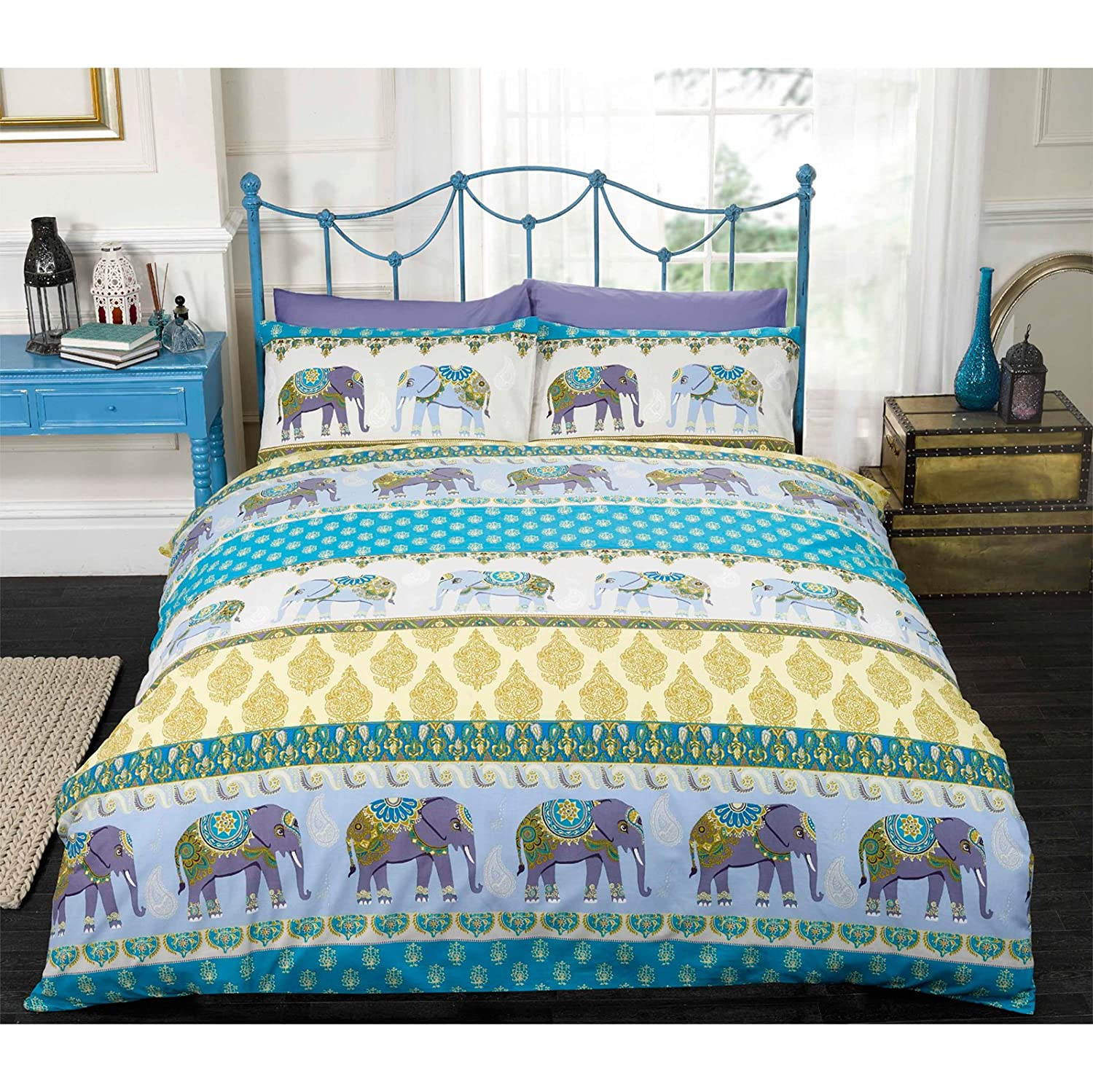 Just Contempo Ethnic Elephant Duvet Cover Set King Blue Amazon