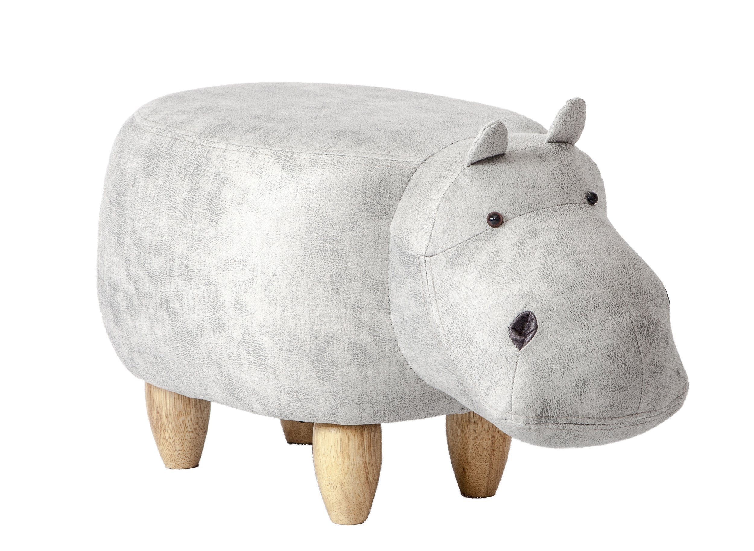 PIQUU Padded Soft Hippo Ottoman Footrest Stool/Bench for Kids Gift and Adults (Grey)