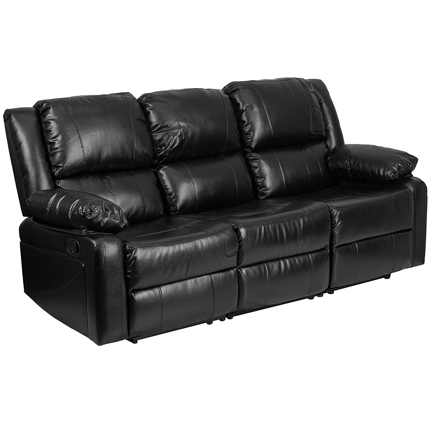 amazoncom flash furniture harmony series black leather sofa with twobuiltin recliners kitchen  dining. amazoncom flash furniture harmony series black leather sofa with