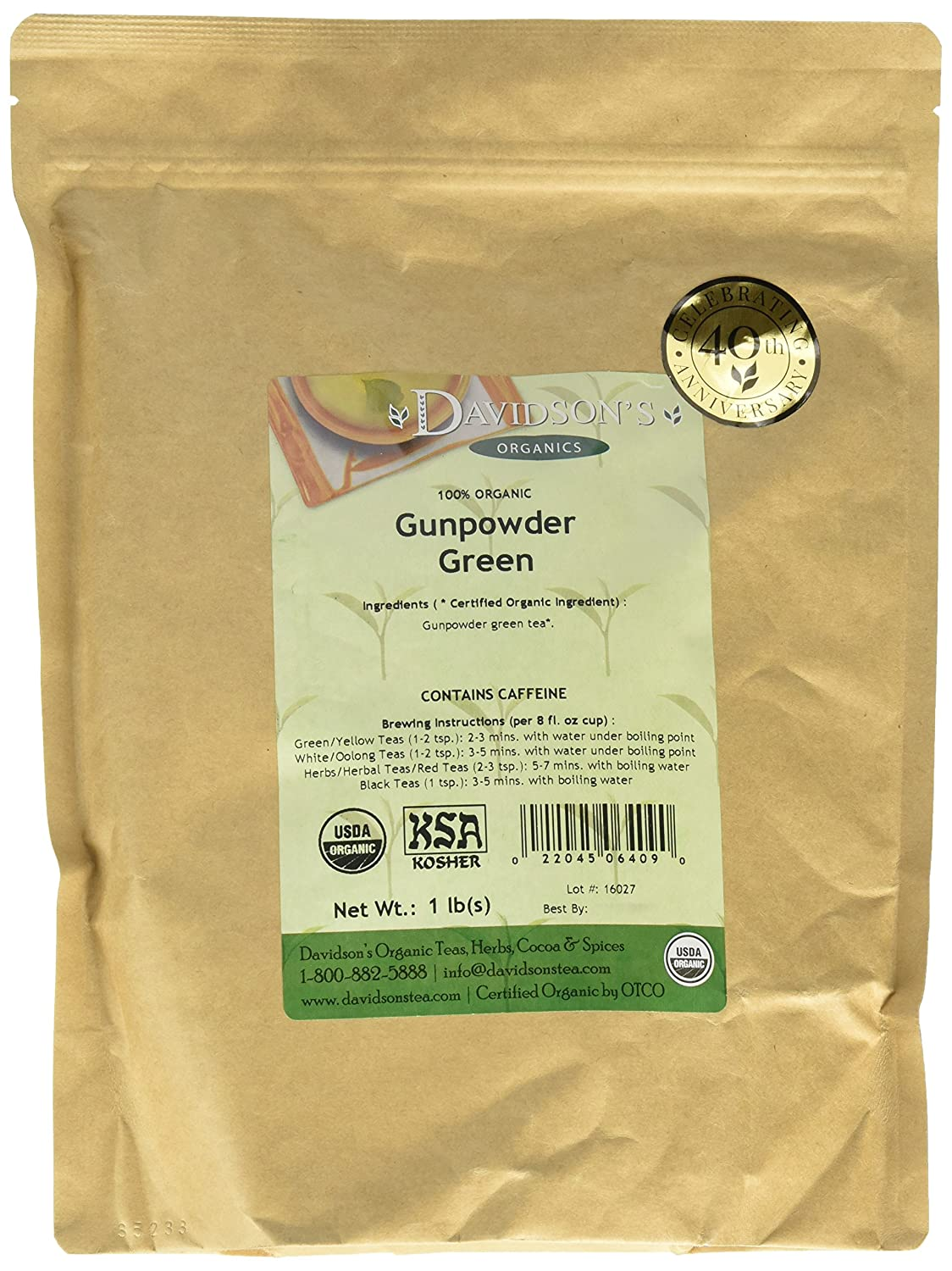 Davidson's Tea Bulk, Gunpowder Green, 1 Pound