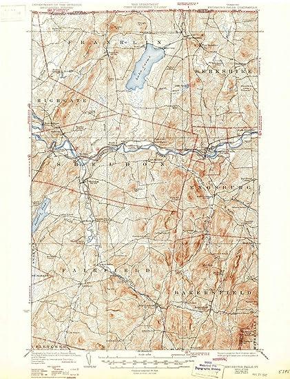Amazon.com: Vermont Maps | 1924 Enosburg Falls, VT USGS Historical ...