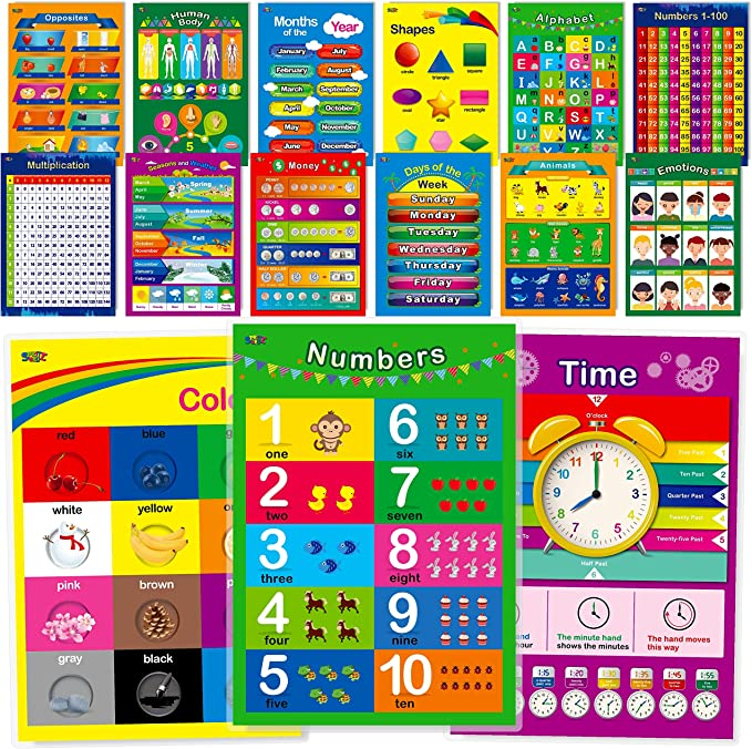 2 Pack ABC Alphabet /& Months of The Year//Days of The Week Poster Set Laminated, 18 x 24