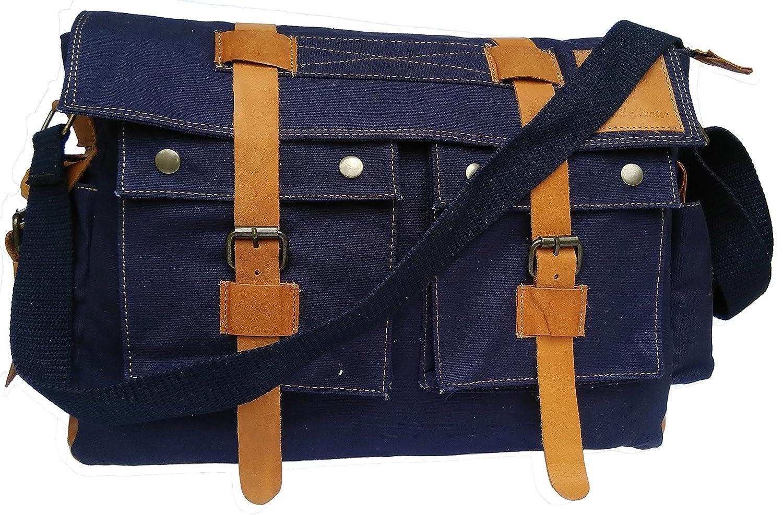 Devil Hunter 15.6 Men's Messenger Bag Vintage Canvas Leather Military Shoulder Laptop Bags