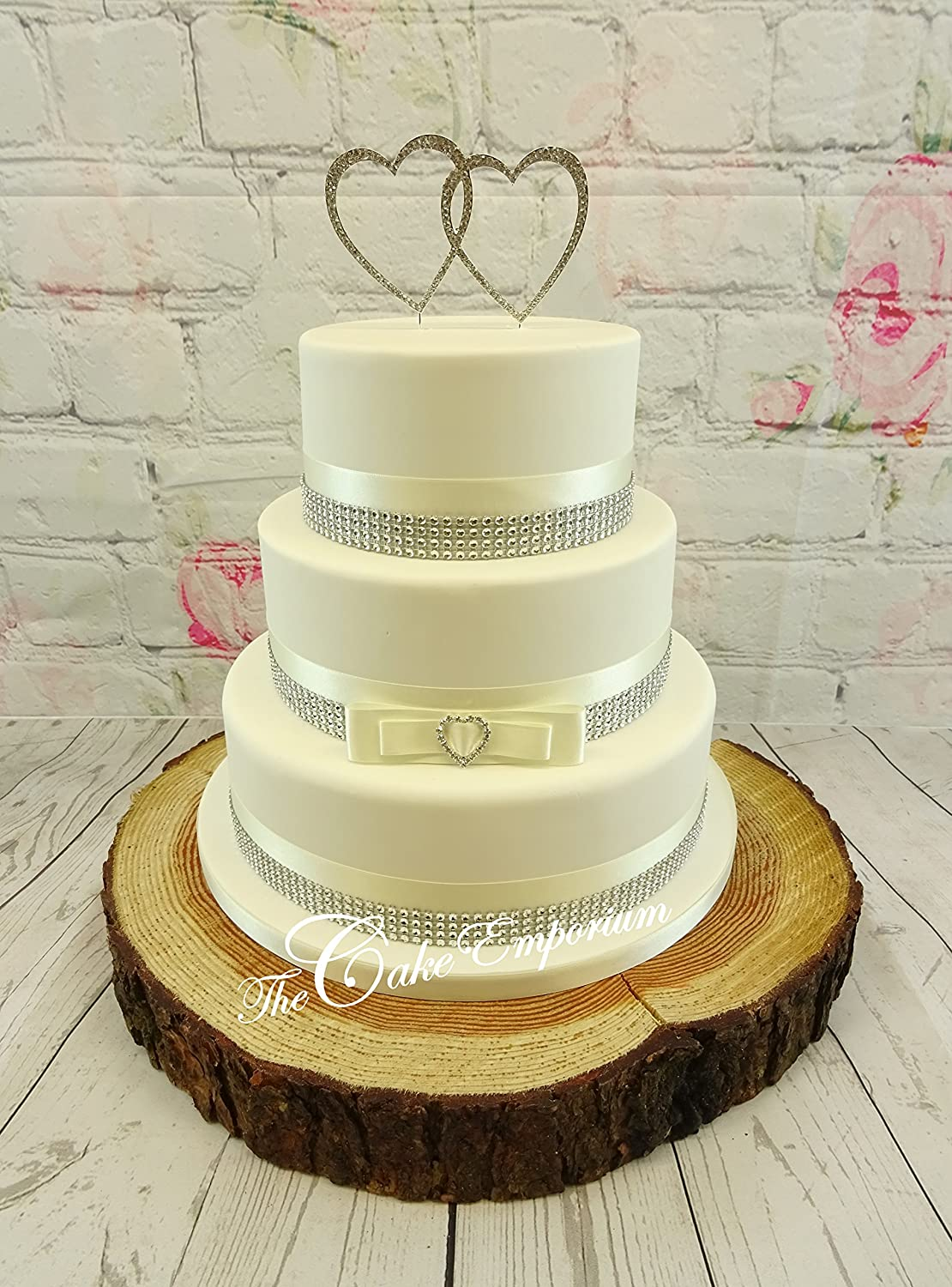 WEDDING CAKE DOUBLE LOVE HEART RHINESTONE - SATIN/DIAMANTE RIBBON ...