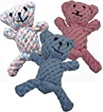 Zenify Puppy Toy Cotton Rope Bear Chew - for Small to Medium Pet Teething Plush Dog Owners (3 Pack (Blue, Pink, Tri Colour))