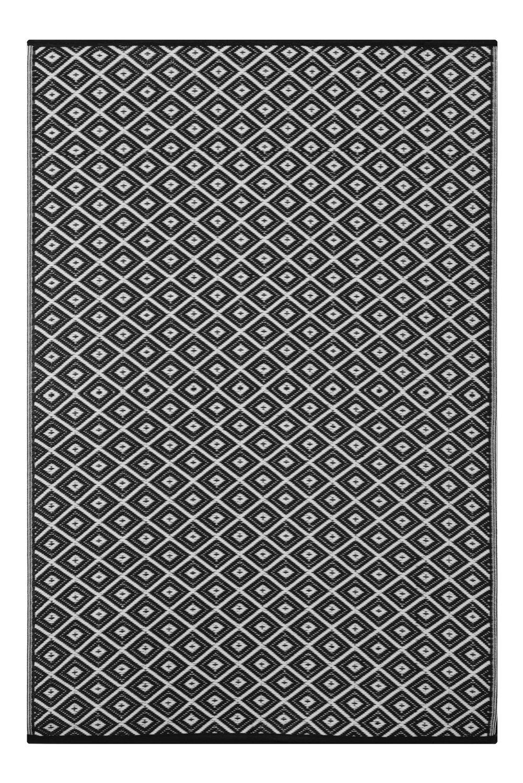 Lightweight Outdoor Reversible Plastic Rug Arabian Nights (6 x 9, Black / White)