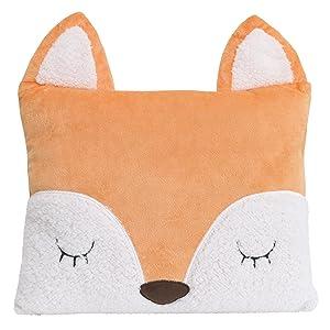 Little Love by NoJo Fox Shaped Pillow, Tangerine