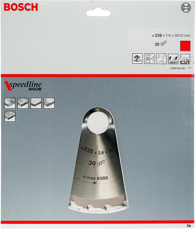 pack de 1 Hoja de sierra circular Speedline Wood 235 x 30//25 x 2,6 mm Bosch 2 608 640 807 30