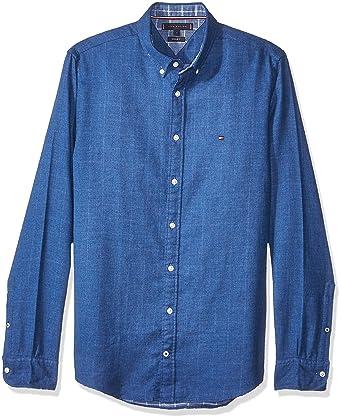 89bc5feb Tommy Hilfiger Mens Blue Depths Flannel Doubleface Shirt: Amazon ...