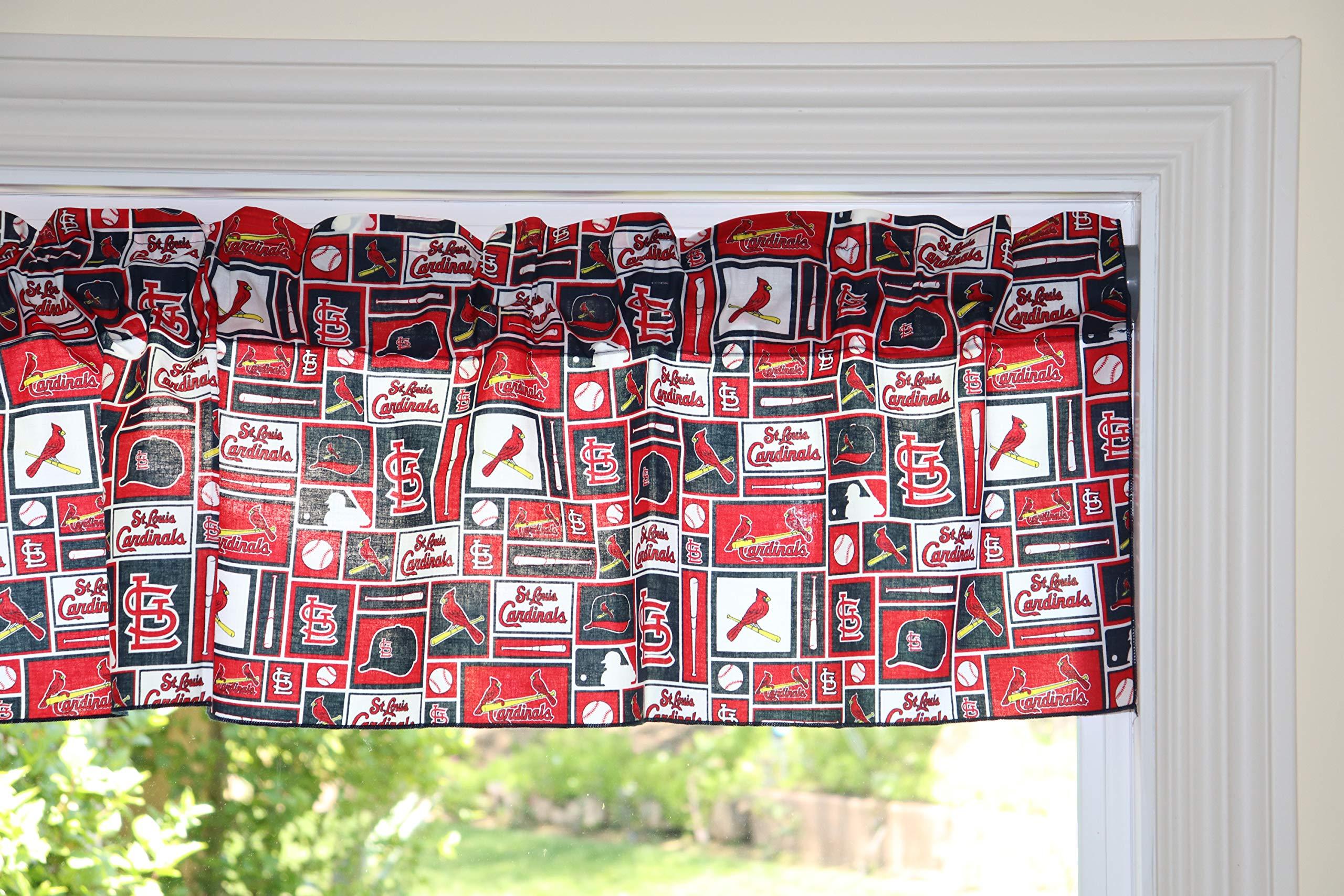 lovemyfabric Baseball Cotton Window Valance 100% Cotton Print MLB Sports Team St. Louis Cardinals Events Kitchen Dining Room Bedroom Window Decor (58'' Wide) (28'' Tall, Patchwork) by lovemyfabric