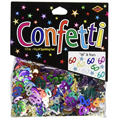 "Beistle CN123""60"" and Stars Confetti: Kitchen & Dining"