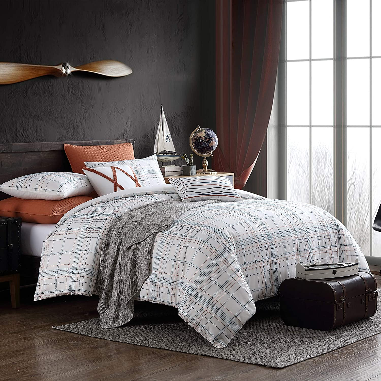 Swift Home Caspian Soft and Cozy Premium Cotton Blend Textured Slub Plaid 3-Piece Comforter Set, Oeko-Tex Certified, Breathable, All Season - White Plaid, Full/Queen (88