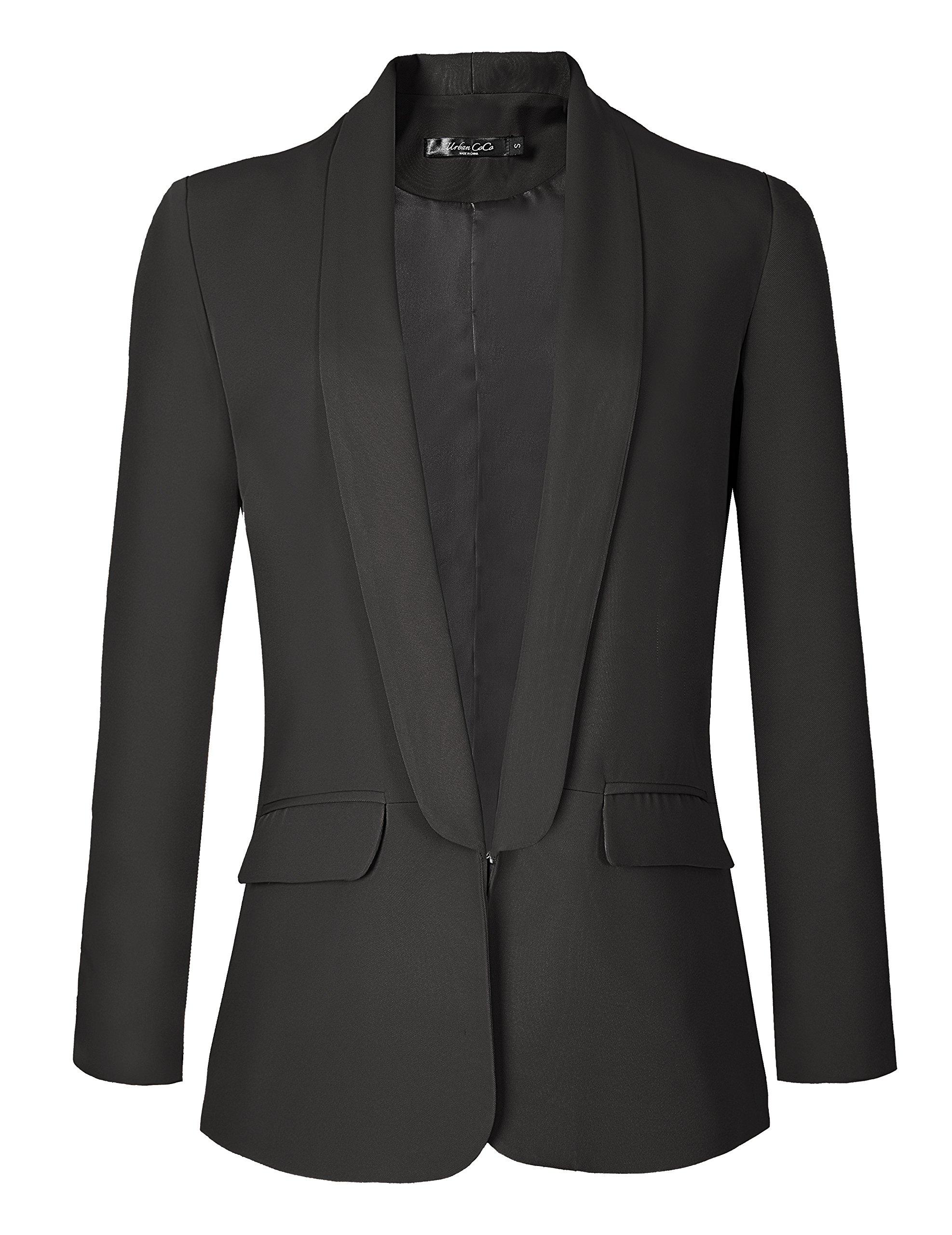 Urban CoCo Women's Office Blazer Jacket Open Front (2XL, Black)
