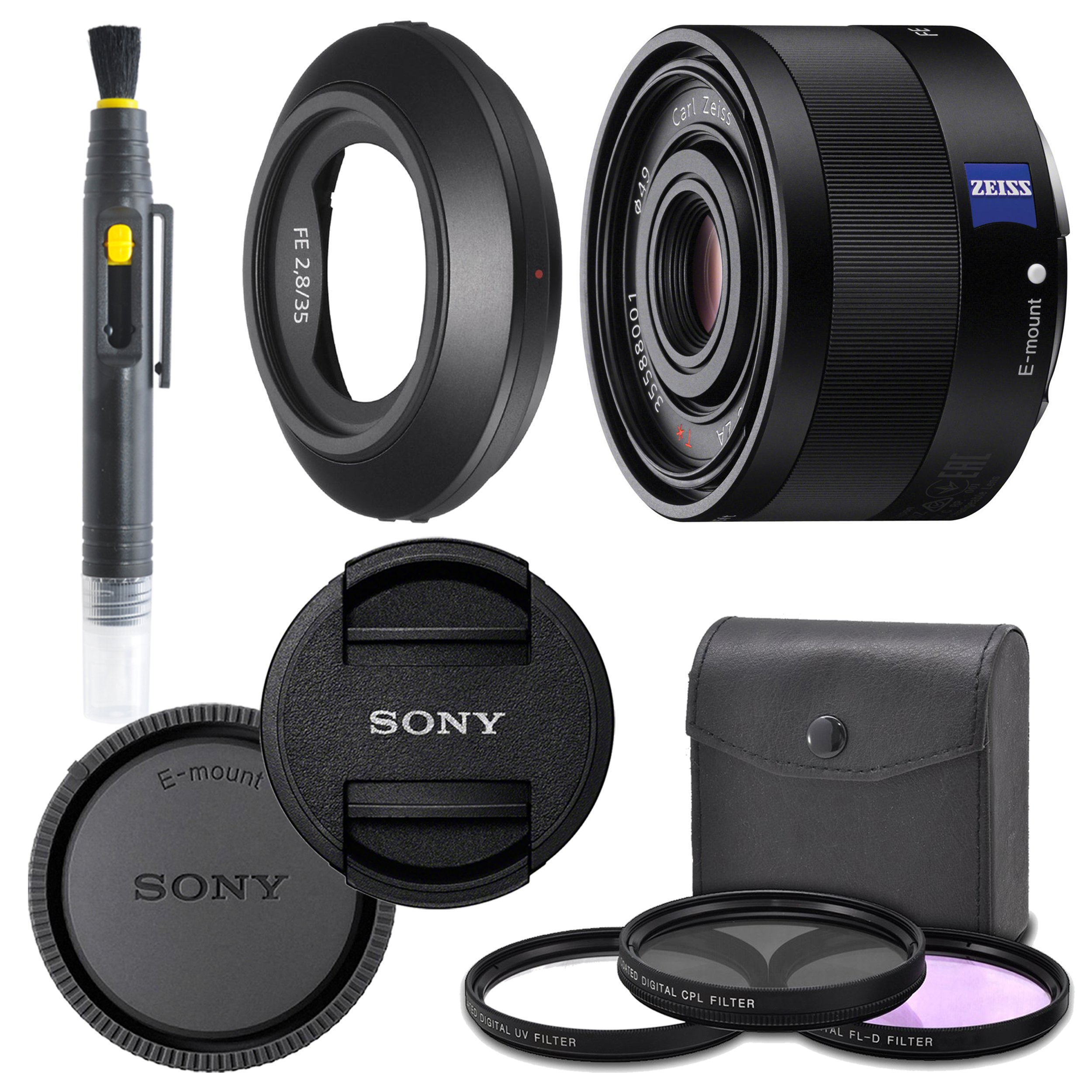 Sony Sonnar T FE 35mm f/2.8 ZA Lens with AOM Pro Kit. Includes: UV Filter, Circular Polarizing Filter, Fluorescent Day Filter, Sony Lens Hood, Front & Rear Caps - International Version