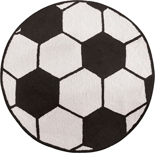 C F Home Soccer Ball Fun Playroom Sports Kids Girls Boys Bedroom Juvenile Handcrafted Premium Woven Indoor Area Rug Soccer Shape White