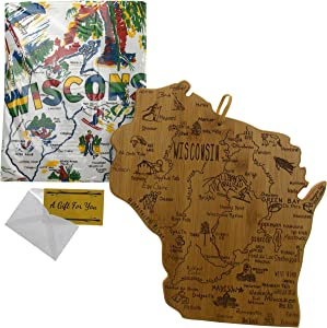 Wisconsin State Destination Bamboo Serving & Cutting Board Bundled with Wisconsin Kitchen Towel