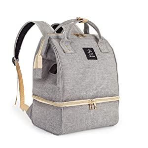Breast Pump Backpack - Cooler and Moistureproof Bag Double Layer for Mother Outdoor Working Backpack with USB Charging Port, Large (Grey)