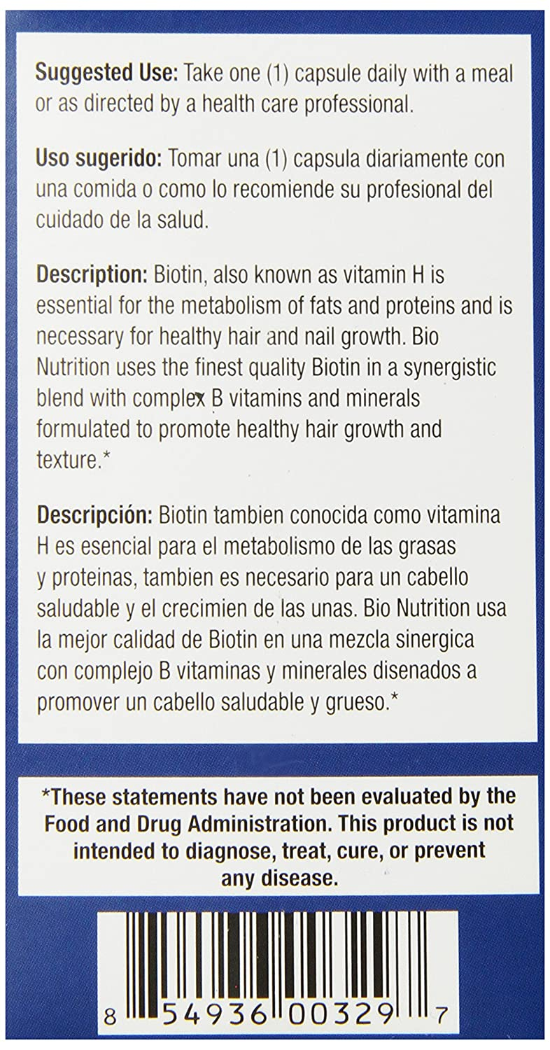 Amazon.com: Bio Nutrition Healthy Hair Biotin Vegi-Caps, 60 Count: Health & Personal Care